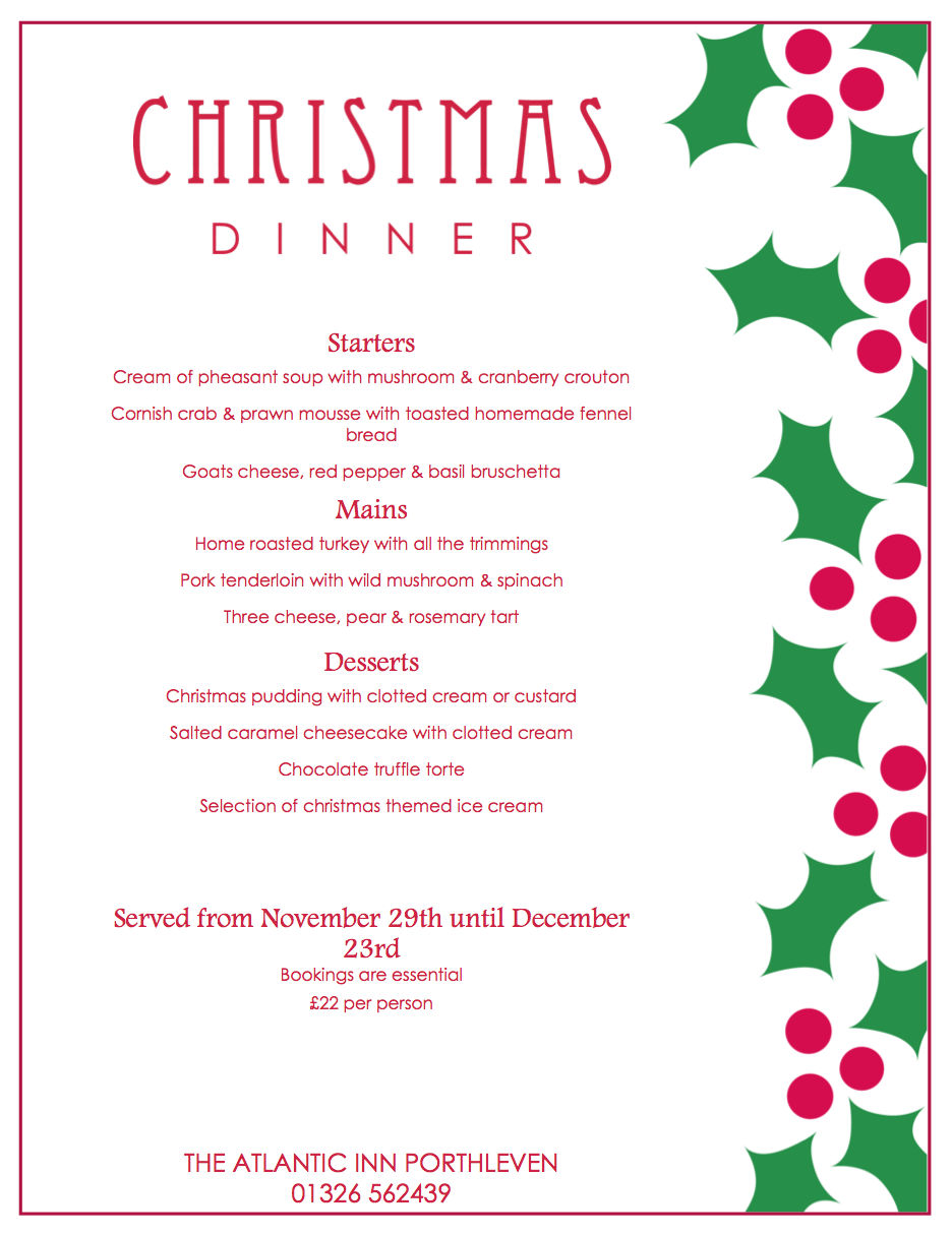 Christmas party menu and new year s eve dinner 2015 the for Ideas for christmas dinner